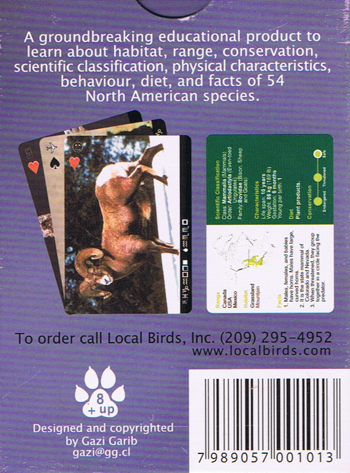 Mammals of North America playing cards box back